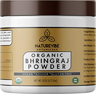 Naturevibe Botanicals USDA Organic Bhringraj powder (8 ounces) - Eclipta Alba - 100% Pure & Natural   Supports Immunity System...[Packaging may vary]