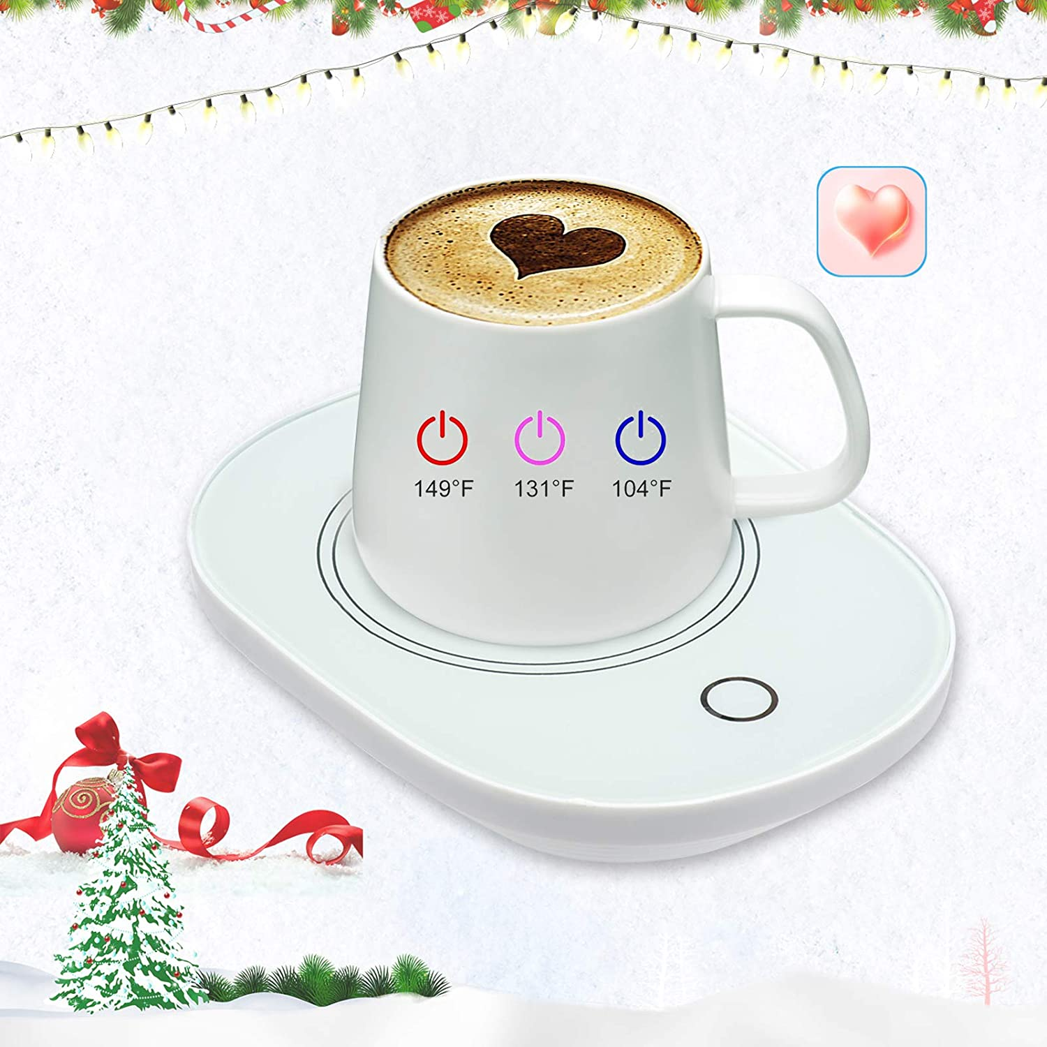Plug-3 Warm Levels Coffee Cup Warmer for Desk with Auto Shut Off,Coffee Mug Warmer for Desk Office Home