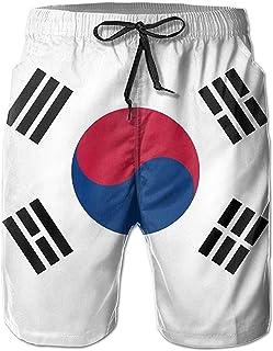 Bernice Winifred Pantalones Cortos de Playa de Secado rápido para Hombres Informales con Bandera de Corea del Sur