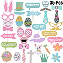 Easter Photo props, Birthday Photo Booth Props, NO DIY required, attached to the sticks,Easter Party Decorations Easter Eggs Rabbit Stickers,35 PCS Set