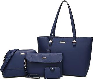 ELIMPAUL Women Fashion Handbags Tote Bag Shoulder Bag Top Handle Satchel  Purse Set 4pcs cd275c9d87a64