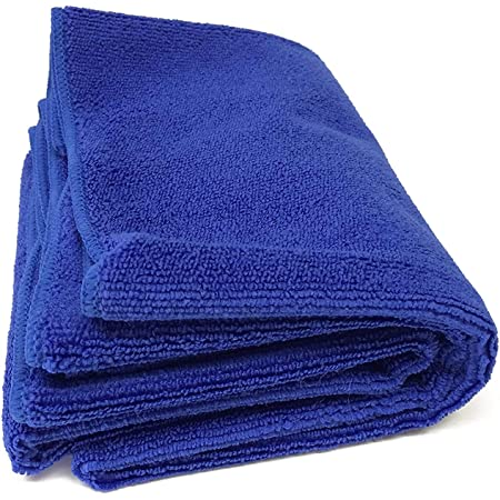 [TARO WORKS] 洗車タオル マイクロファイバー 洗車ふき取り 磨き上げ クロス 大判 業務用 (60cmx120cm) ブルー 2枚