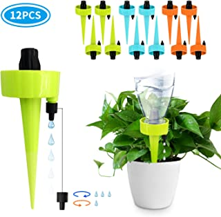 Plant Watering Spikes, Plant Waterer, Self Watering Spikes, Plant Watering Globes Bulbs Stakes System, Automatic Vacation Drip Irrigation Watering Devices for Outdoor Indoor Plants (12 Pack)