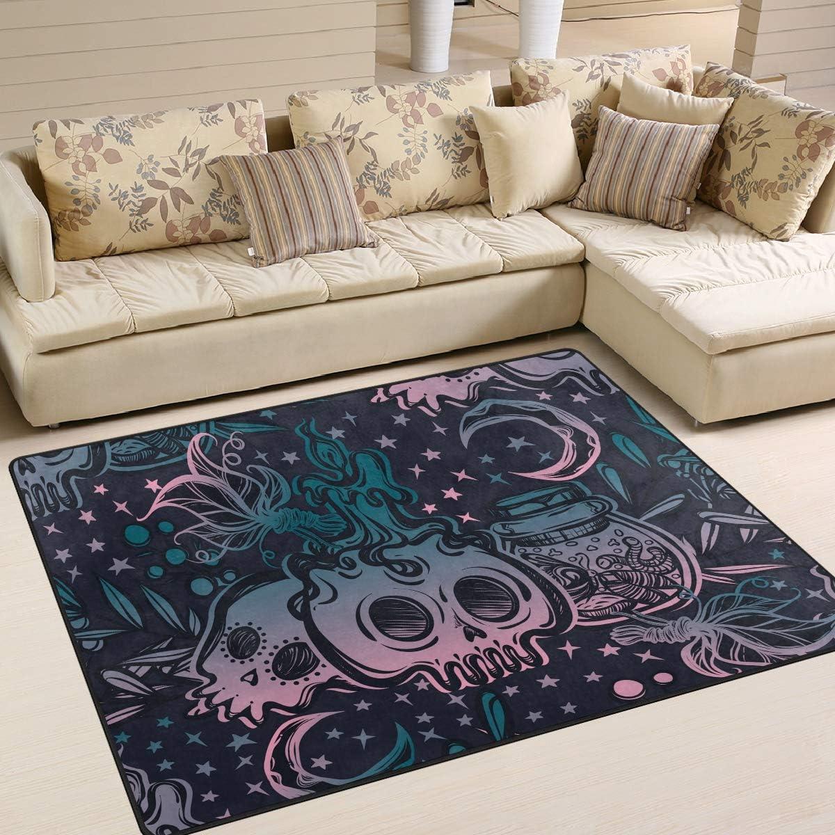 Mr.Lucien Area Rug for Bedroom メーカー公式 Purple Skuull Decor Gothic 流行のアイテム Indoor