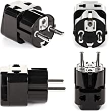 European Adapter Plug, OREI Travel Adaptor for Europe Schuko Countries 2 in 1, for Germany France Iceland Netherlands Russa Greece Spain - Safe Grounded Connection - Universal Socket - 4 Pack