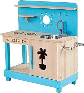 Teamson Kids TDF-00005 Little Chef Mud Outdoor Play Kitchen-Aqua Wood