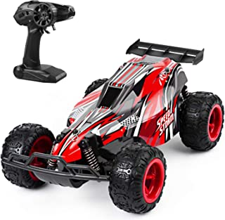 JEYPOD Remote Control Car, 2.4 GHZ High Speed Racing Rc Car with 4 Batteries, Kids Toys, Red