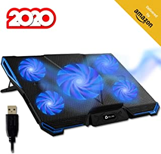 Klim Cyclone Laptop Cooling Pad 5 Fans Cooler No More Overheating Increase Your PC Performance And Life Expectancy Ventilated Support For Laptop Gaming Stand To Reduce Heating Blue