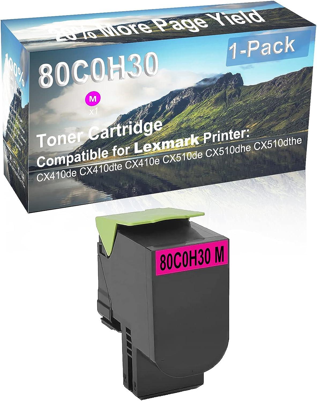 1-Pack (Magenta) Compatible High Yield 80C0H30 Laser Printer Toner Cartridge Used for Lexmark CX510dhe, CX510dthe Printer