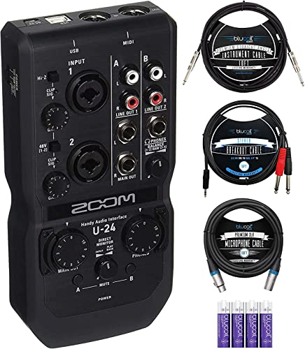 """discount Zoom U-24 Handy Audio Interface for Windows, Mac, iOS Bundle with Blucoil 10' XLR Cable, 10' Straight Instrument Cable (1/4""""), popular 4 sale AA Batteries, and 3.5mm TRS to Dual 1/4"""" TS Stereo Breakout Cable online sale"""