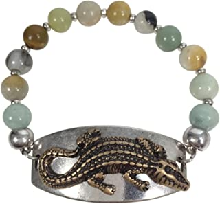 Natural Stone Bead Multi Color Animal Plate Stretch Bracelet