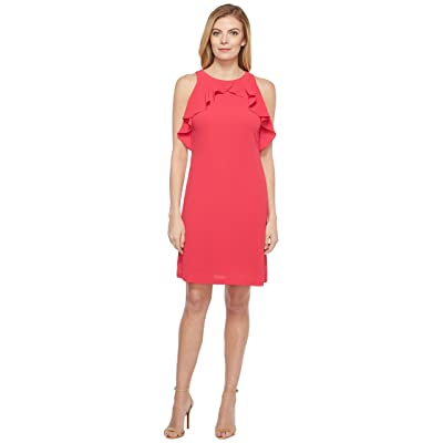 Jessica Simpson Solid Dress with Ruffle Neck (Rose) Women