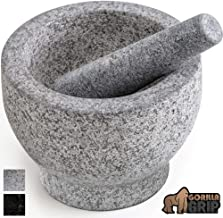 Gorilla Grip Original Mortar and Pestle Set, Small Size, 5 Inch, Holds 1.5 Cups, Slip Resistant Bottom, Heavy Duty Polished Granite, Guacamole Molcajete Bowl, Kitchen Spices, Herbs, Pesto Grinder