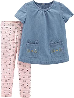 Carter's Baby Girls' 2 Piece Chambray Top and Cat Legging Set (Blue Pink/Cats, 3 Months)