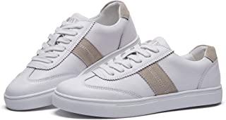 BOYATU Leather Flat Sneakers for Women Trainers Shoes Fashion Walking Sneakers White