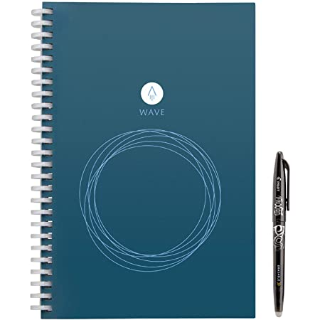 "Rocketbook Wave Smart Notebook - Dotted Grid Eco-Friendly Notebook with 1 Pilot Frixion Pen Included - Executive Size (6"" x 8.8""), Model Number: WAV-E"
