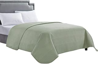 HollyHOME Luxury Checkered Super Soft Solid Single Pinsonic Quilted Bed Quilt Bedspread Bed Cover, Sage, Twin