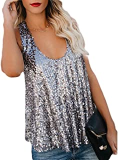 DressU Women's Strap Sequin Glitter Sexy Loose Sleeveless Vest Tank Top