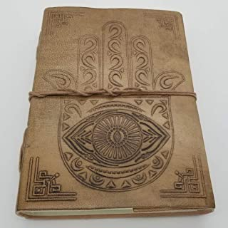 Hamsa Hand Journal - Leather Journal for Men and Women - 200 Page Notebook and Travel Journal - SongWriting Journal and Ar...