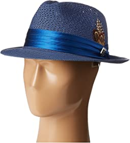 Polybraid Pinch Front Fedora with Silk Band