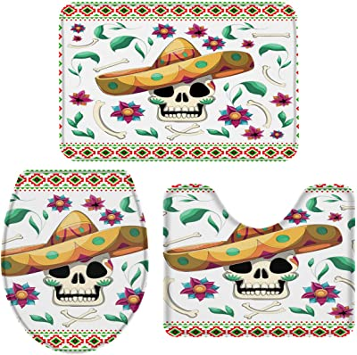 """Sponge Bathroom Rug 3 Set(1 Bath Rug, 1 U-shaped Mat, 1 Lid Cover) - Mexico Straw Hat Skull and Floral Plants Art Print, Bath mat with Non-Slip Rubber Backing for Home Decor 18""""x30""""+15""""x18""""+14""""x18"""""""