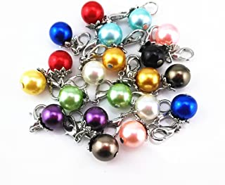 Blovess yueton 20pcs Colorful Pearl Dangle Charms Pendant with Lobster Clasp Jewelry Making Accessory Fit Floating Locket Charms Necklaces (Silver)