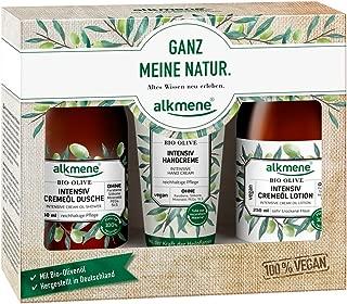 Alkmene Organic Olive Oil Body Care Gift Set Trio -Shower Gel 250ml, Lotion 250ml and Hand Cream 75ml Vegan, Paraben-Free, Organic - for Dry Skin