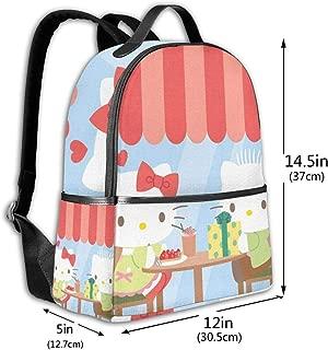 Classic School Backpack Hello Kitty with Present Unisex College Schoolbag Travel Bookbag Black