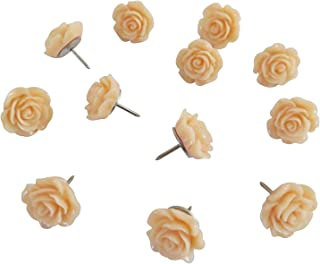 Decorative Rose Thumbtacks for Cork Boards, Unique Handmade Flower Push Pins are Ideal for Pinning Polaroid Photos, Bridal, Baby Showers Decors. Adorning Offices and Weddings - Set of 12. (Peach)