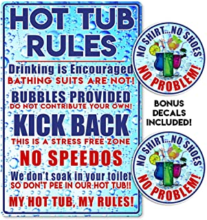 IT'S A SKIN Hot Tub Spa Metal Sign Decoration for Your Spa, Funny! with 2 Stickers Added