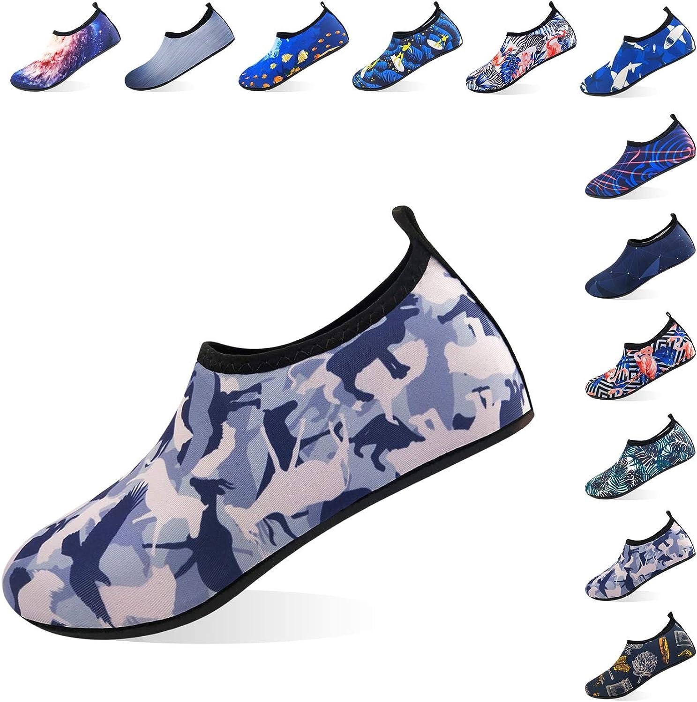 Jjyee Water shoes for Women and Men Barefoot Quick Dry Aqua Socks Slip on for Beach Swim Pool Surf Yoga(Animal,M 38 39)