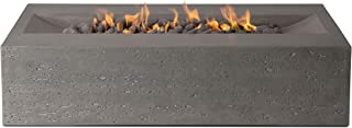 Pyromania Millenia Outdoor Fire Pit Table. Hand Crafted from Concrete. 60,000 BTU Stainless Steel Burner with Electronic Ignition - Natural Gas, Slate Color (Lava Rock Included)