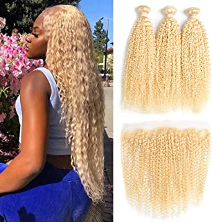 613 Blonde Human Hair Bundles With Frontal 8A Brazilian Kinky Curly3 Bundles With 13x4 Lace Frontal Closure Remy Human Hair Blonde Bundles With Frontal Closure (10 10 10 with 10, frontal)