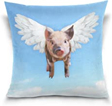 Hokkien Blue Viper Cute Pig Flying Decorative Square Throw Pillow Case Cushion Cover for Sofa Bedroom Car Double-Sided Design 18 x 18 inch