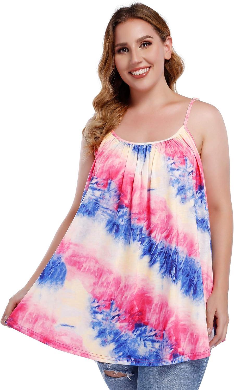 AMZ PLUS Womens Plus Size Tank Tops Loose Spaghetti Strap Camisole Ombre Tie Dye Sleeveless Top