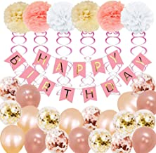 Birthday Decorations,Birthday Party Supplies for girl and women include 52Pcs Banners Rose Gold Balloons for 18th 19th 20th 21st 22nd 24th 25th 30th 40th 45th 50th 60th 70th Party Supplies