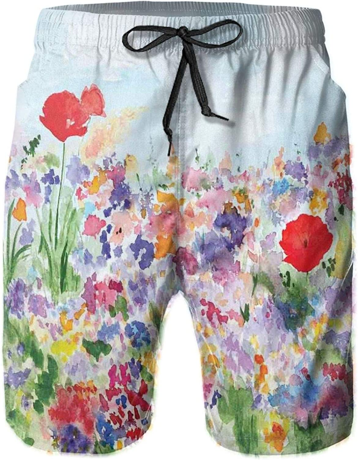 Floral Summertime Garden with Grass and Blooms Love Illustration Print Drawstring Waist Beach Shorts for Men Swim Trucks Board Shorts with Mesh Lining,L
