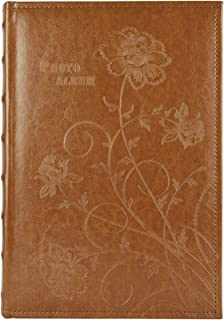 Golden State Art, Photo Album Floral Faux Leather 300 Pockets Large Capacity Holds 4x6 Picture Book Used for Family Wedding Anniversary Vacation Christmas Baby Dog (Brown)