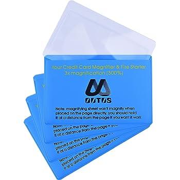 Outus 4 Pack Plastic Reading Magnifier Lens Credit Card Size Magnifier Wallet Pocket Lens Firestarter (300% Magnifier Lens)