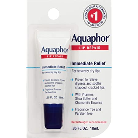 Aquaphor Lip Repair Ointment - Long-Lasting Moisture to Soothe Dry Chapped Lips