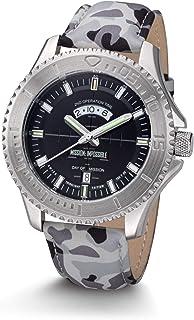 Mission Impossible Tactical Watch H3 Reloj Auto Luminoso Acero Negro con Correa De Cuero Camuflaje
