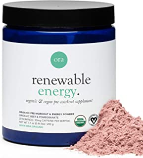Ora Organic Renewable Energy Organic Pre-Workout Powder, Pomegranate & Berry, 200g