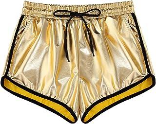 KGYA Women's Elastic Drawstring High Waisted Shiny Metallic Shorts with Pockets