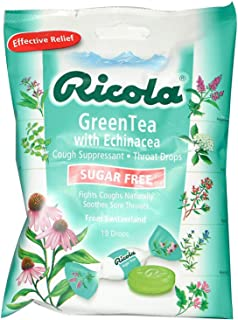 Ricola Cough Suppressant Throat Drops Sugar Free Green Tea with Echinacea - 19 ct, Pack of 2