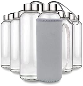 Teikis 6 Pack Glass Water Bottles 18oz with Cap and Nylon Protective Sleeve - Reusable Drinking Glass Bottle for Juic...