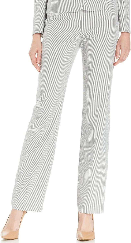 Le Suit Women's Ibiza Seersucker Straight Leg Trousers