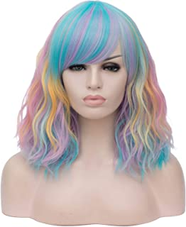 Hairpieces Ladies Multicolor Stitched Gradient Hair Synthetic Short Wig with Bangs Curly Wavy Black and White Blue Pink Co...