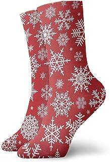 Hunter qiang, Calcetines para mujeres y hombres, ilustración navideña, diseño con copos de nieve blancos sobre fondo rojo, calcetines deportivos de 30 cm