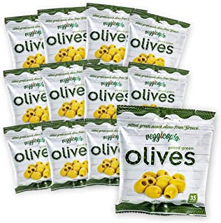 Veggicopia Olives, Tasty Green Pitted Olives – Keto – 1.05 Ounce Snack Bags (Pack of 12)