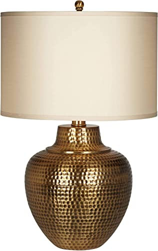 high quality Maison Loft Rustic wholesale Farmhouse Table Lamp online Hammered Antique Brass Cream Linen Drum Shade for Living Room Bedroom Bedside Nightstand Office Family Traditional sale